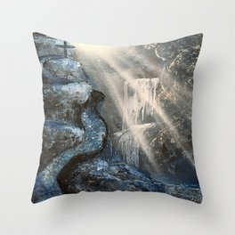 Spray Paint Waterfall Road to the Cross Throw Pillow