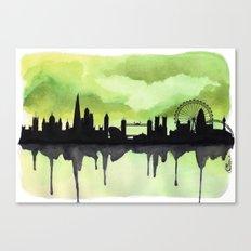 London Skyline 2 Lime Canvas Print