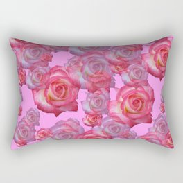 COLLAGE  ARRANGEMENT OF PINK ROSES GARDEN ART Rectangular Pillow