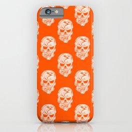 White Human Skulls on Orange Pattern iPhone Case