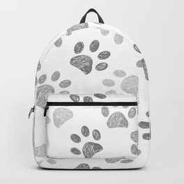 Black and grey paw print pattern Backpack