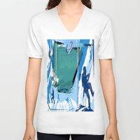 climbing V-neck T-shirts featuring Ice Climbing by Tami Cudahy