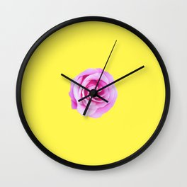 pink rose with yellow background Wall Clock