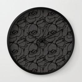 Rose pattern black and grey Wall Clock