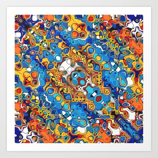 Orange And Blue Abstract Art Print