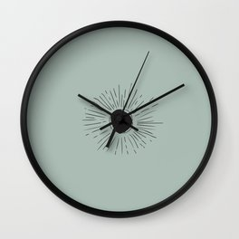 Sun Line Drawing - Black Wall Clock