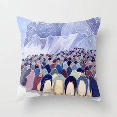 Huddling Penguins Throw Pillow