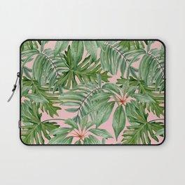 Tropical art,Palmtree,monstera pattern,pink background Laptop Sleeve