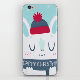 Cozy Winter Rabbit Christmas Card iPhone Skin
