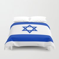 israel Duvet Covers featuring Flag of Israel by Neville Hawkins