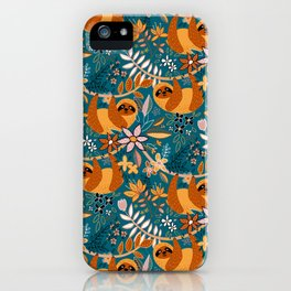 Happy Boho Sloth Floral iPhone Case
