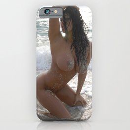 9978-SS Beautiful Naked Woman Nude Beach Sand Surf Big Breasts Long Black Hair Sexy Erotic Art iPhone Case