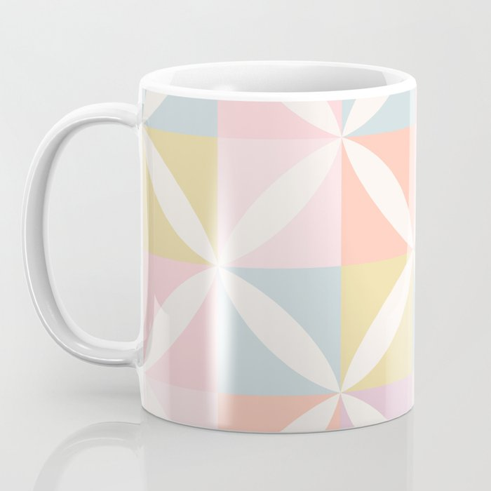 Vintage Geometric Pattern - Pastel Rainbow Coffee Mug