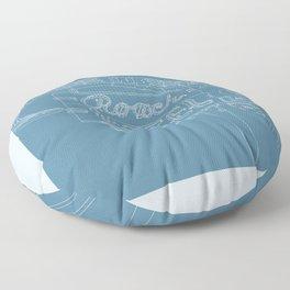 San Antonio Motel Series - Vintage Niagara Blue Floor Pillow