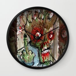 zombie flips the bird Wall Clock