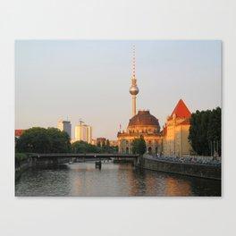 Berlin City View On River Spree Canvas Print