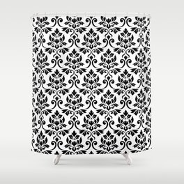 Feuille Damask Pattern Black on White Shower Curtain