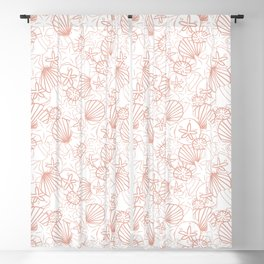 Coral pink seashells on white Blackout Curtain