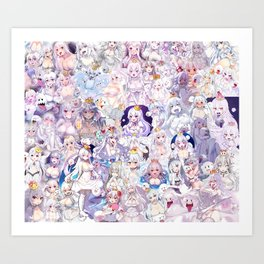 Booette Manga Anime Girls Collage in Colour Art Print