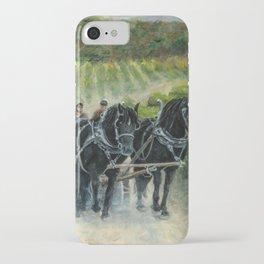 Grape Harvest Teamwork in the Vineyard iPhone Case