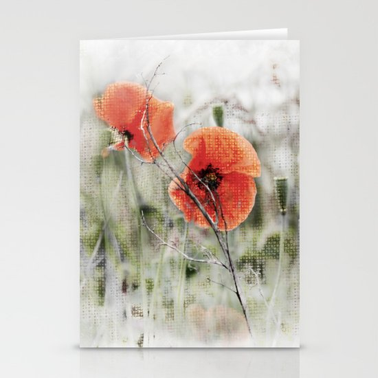 Poppies(mist). Stationery Cards