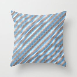 Blue Grey White Inclined Stripes Throw Pillow