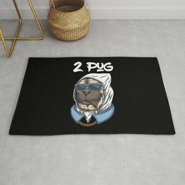 2 Pug Funny Thug Life Puppy Gangster Dog Street Rap Gift for Pugs Owners Rug