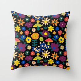 60's Country Mushroom Floral in Black Throw Pillow