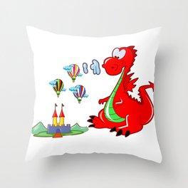 Dragon The Hot Air Balloon Helper Throw Pillow