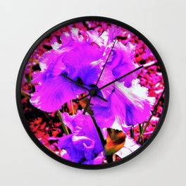 Abstract Ultra Violet Purple Iris on Red and Pink Wall Clock