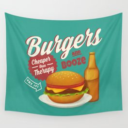 Burgers and Booze Wall Tapestry