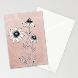 Wildflowers Ink Drawing | Dusty Pink Stationery Cards