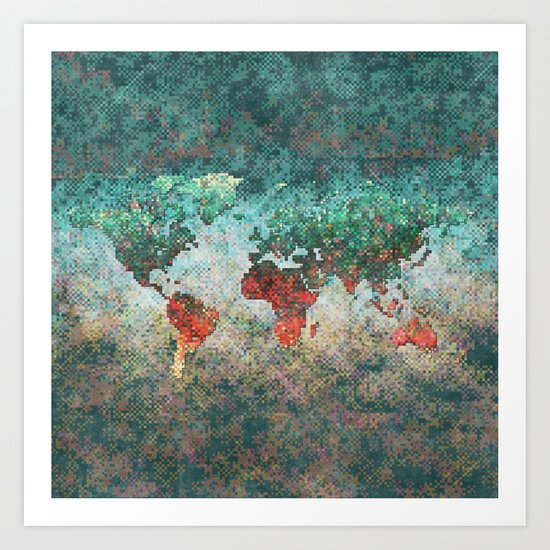 World Map Square Art Print