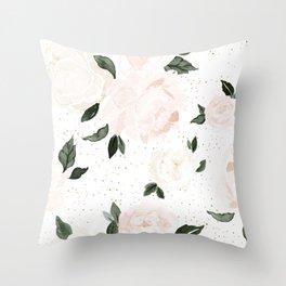vintage blush floral Throw Pillow