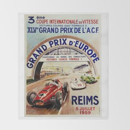 Gran Prix de LACF, Reims, 1959, original vintage poster Throw Blanket