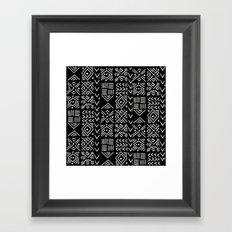 Mudcloth 3 black and white minimal pattern linocut print abstract Framed Art Print