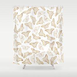 Elegant Gold Glitter Butterfly Glam Design Shower Curtain