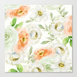 Big Peach and White Flowers Canvas Print