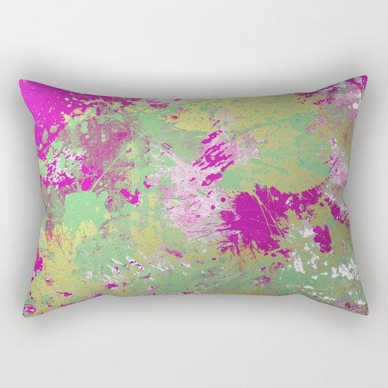 Metallic Pink Splatter Painting - Abstract pink, blue and gold metallic painting Rectangular Pillow