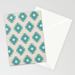Southwestern Pattern 435 Beige and Turquoise Stationery Cards
