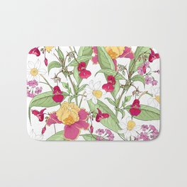 Floral background with spring flowers Bath Mat