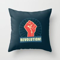revolution Throw Pillows featuring REVOLUTION! by Word Quirk