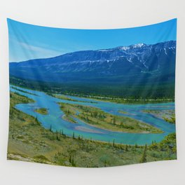 Looking over the Athabasca River on the east end of Jasper National Park, Canada Wall Tapestry