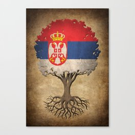 Vintage Tree of Life with Flag of Serbia Canvas Print