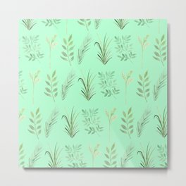 Bouquet of branches and leaves pattern,  Mint background Metal Print