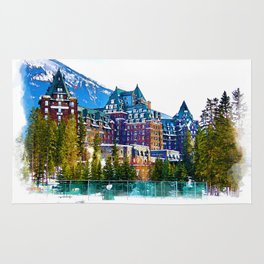 Castle in the Mountains - Banff Alberta Canada Rug