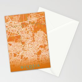 Nicosia, Cyprus, Gold, Blue, City, Map Stationery Cards
