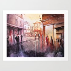Sunset over Montmartre - Paris painting Art Print