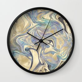 Liquid Gold Mermaid Sea Marble Wall Clock