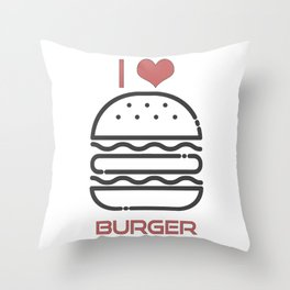 I Love Burger - BBQ Barbecue Grill Design Throw Pillow